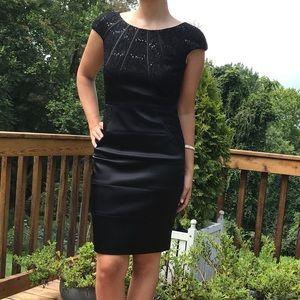 Black sequin satin cap sleeve Jax dress